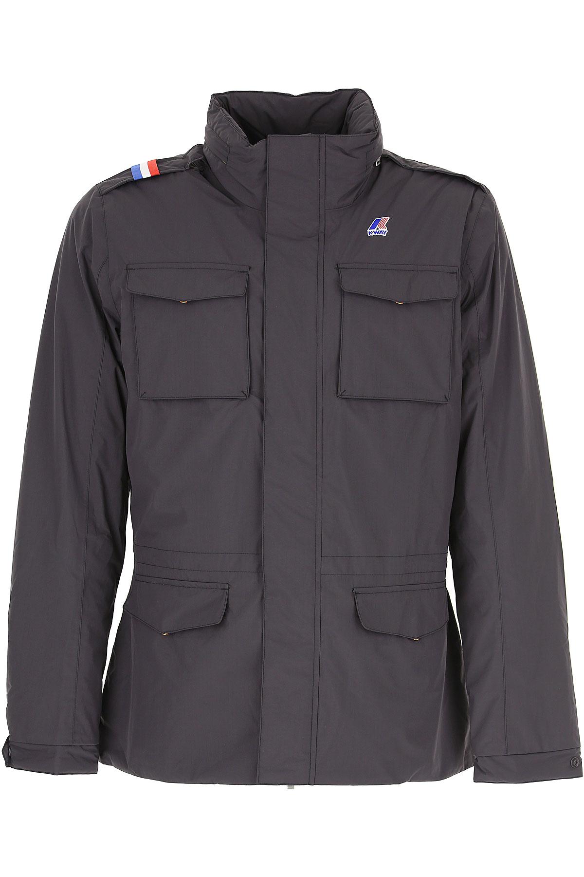 K-Way Down Jacket for Men, Puffer Ski Jacket On Sale, Anthracite, polyester, 2019, M XL