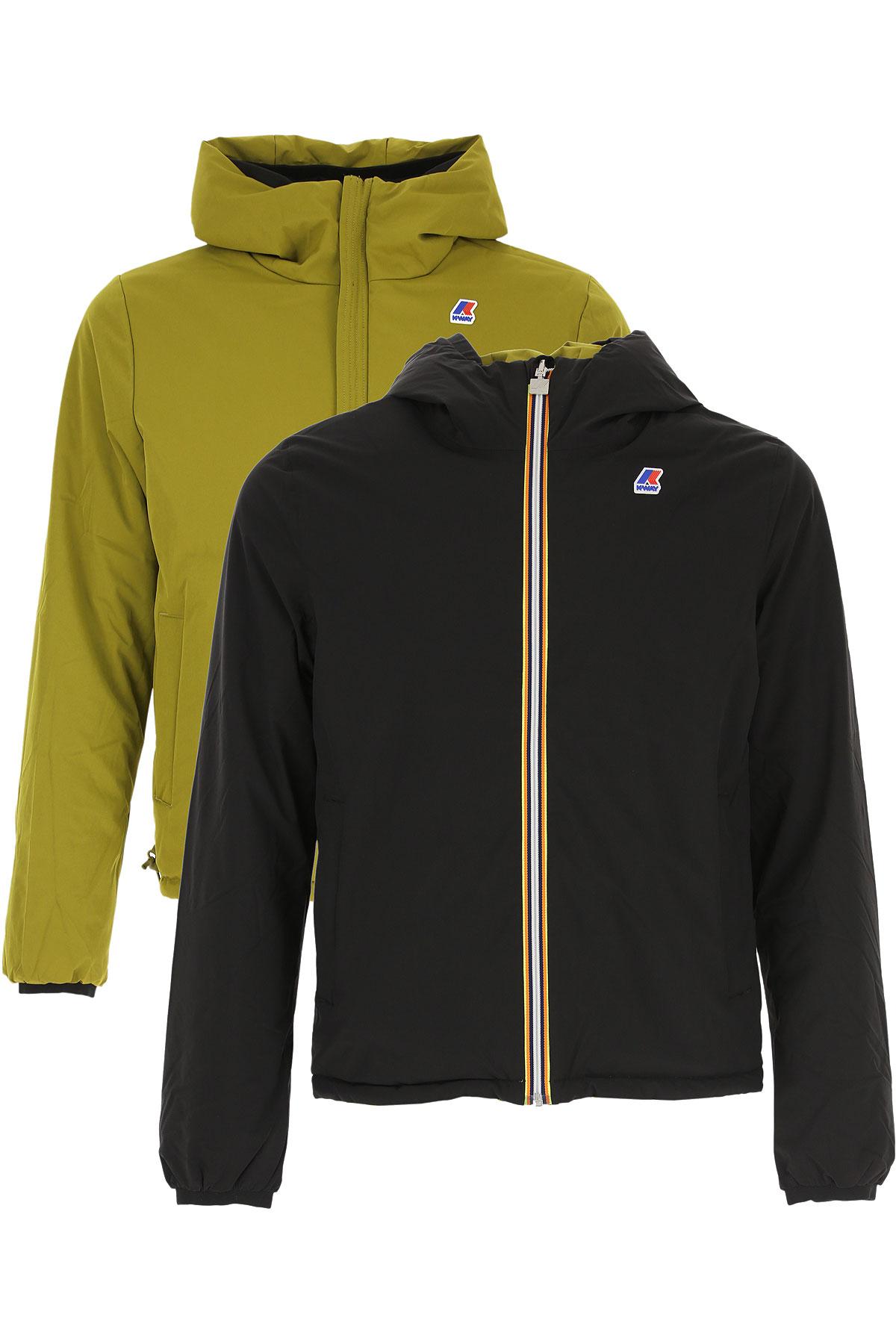 K-Way Down Jacket for Men, Puffer Ski Jacket, Black, polyester, 2019, L S XXL