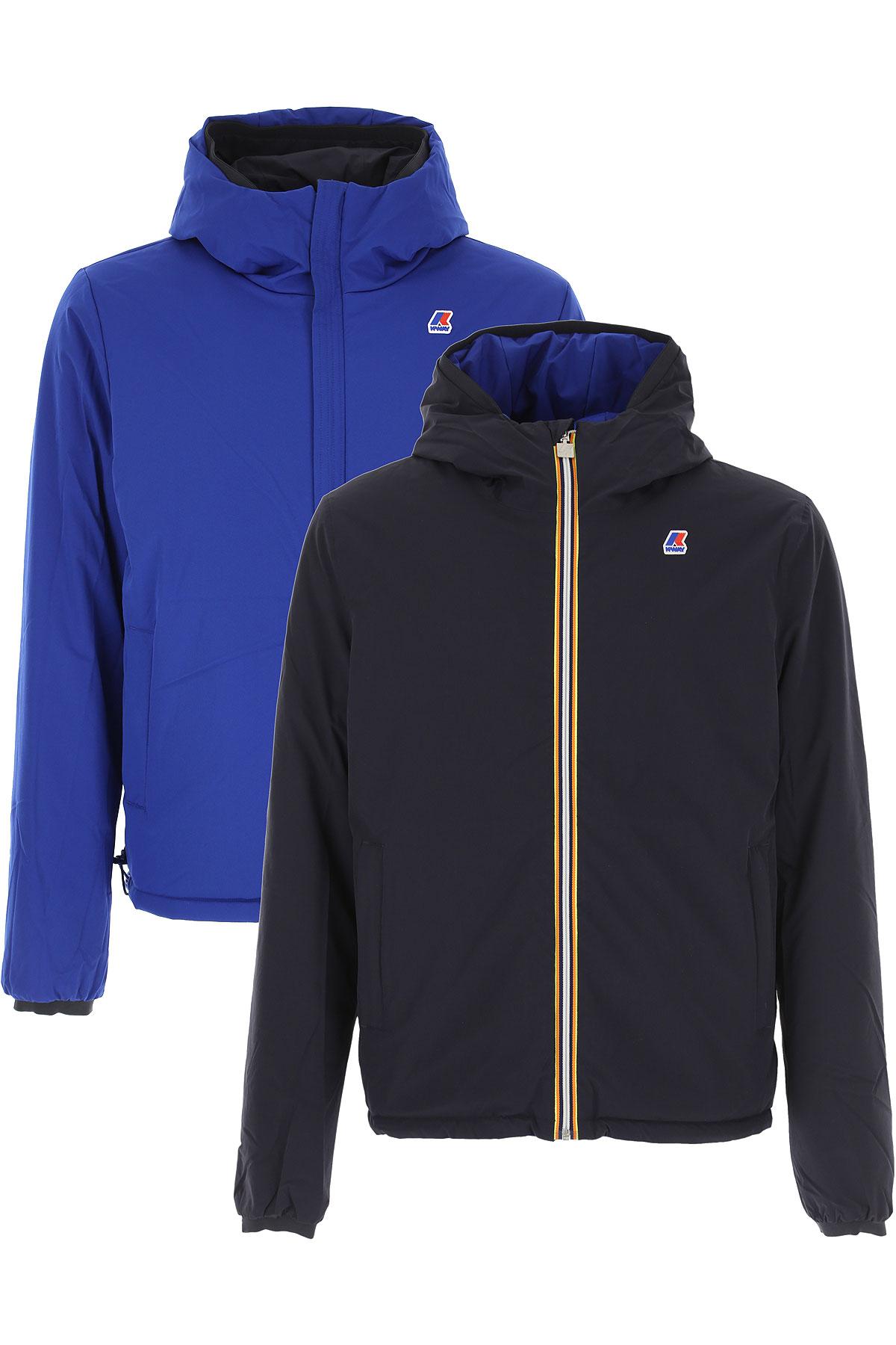 K-Way Down Jacket for Men, Puffer Ski Jacket On Sale, navy, polyamide, 2019, L M S XL XXL