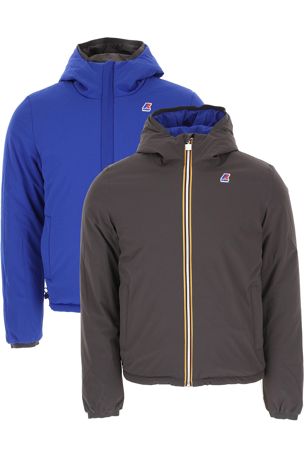 K-Way Down Jacket for Men, Puffer Ski Jacket On Sale, Stone Grey, polyamide, 2019, L M S XXL