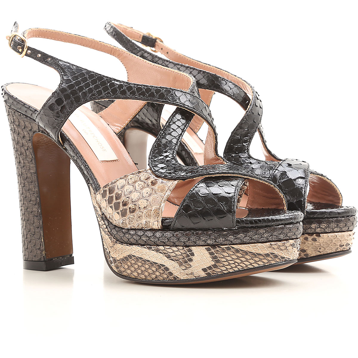 Lautre Chose Sandals for Women On Sale in Outlet, Black, Ayer Snake Leather, 2019, 6 8