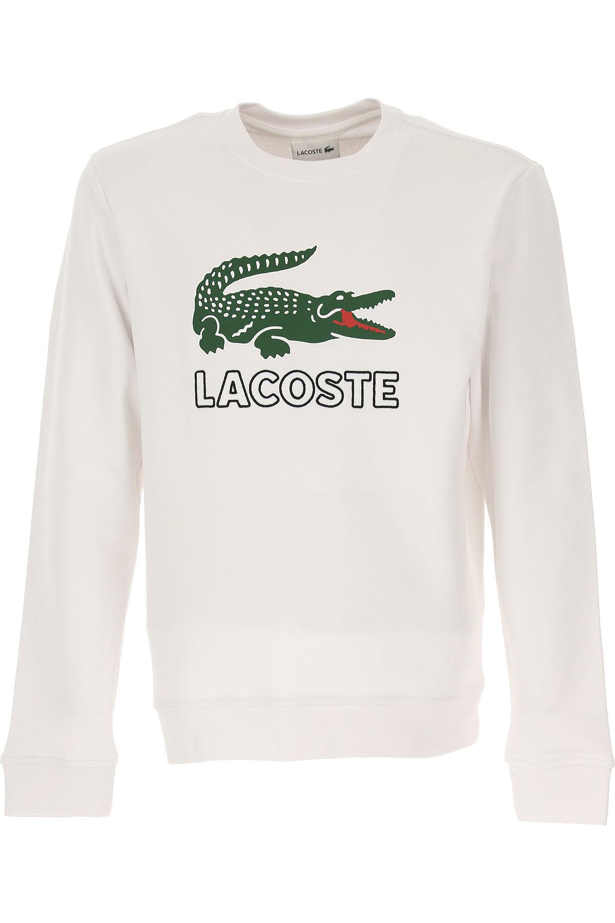 eb7d256e8a Lacoste Felpa Uomo, Bianco, Cotone, 2019, L M S (ITA-518658 419810