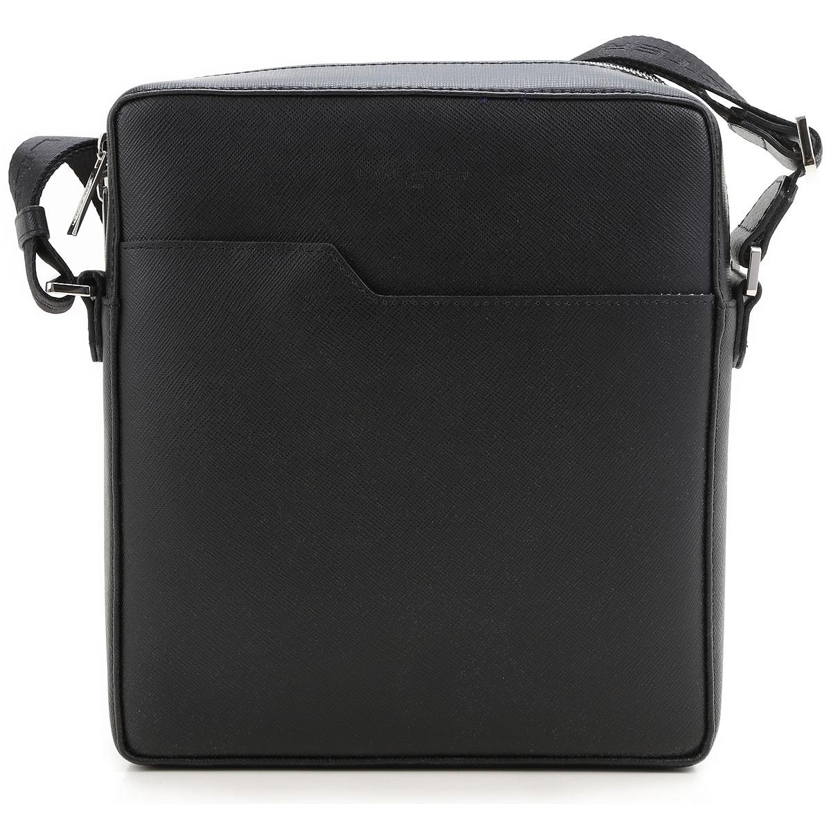 Image of Lancaster Messenger Bag for Men, Black, Leather, 2017