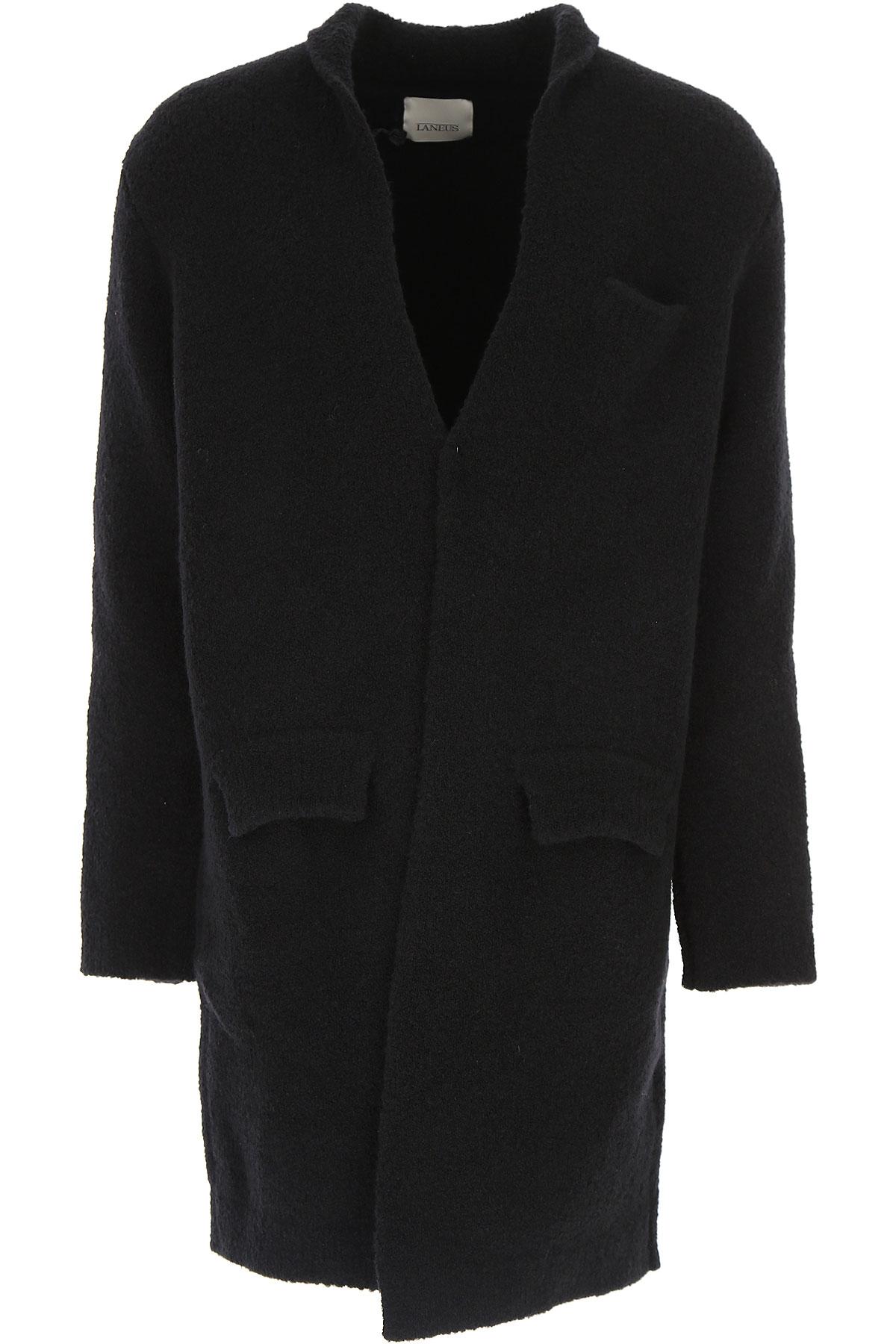 Image of Laneus Men\'s Coat, Black, merino wool, 2017, L XL