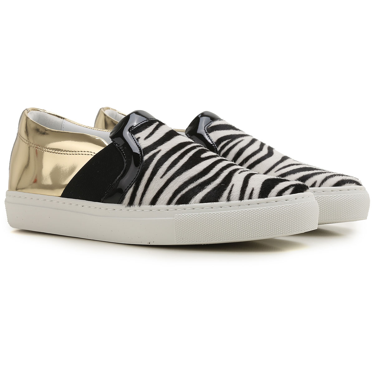 Lanvin Slip on Sneakers for Women On Sale in Outlet, Zebra-Striped, Leather, 2019, 6 7 9