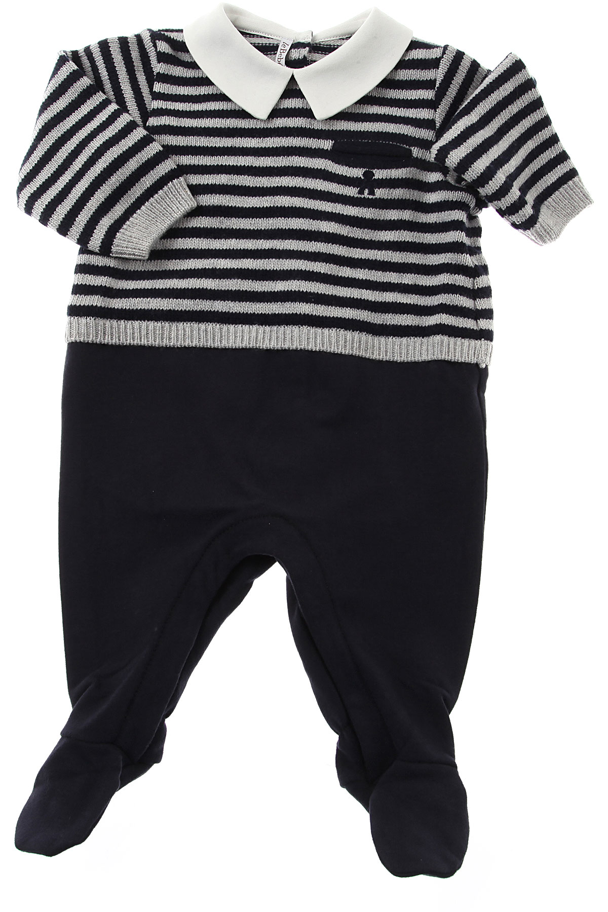 Image of Le Bebe Baby Bodysuits & Onesies for Boys, Blue, Wool, 2017, 3M 6M
