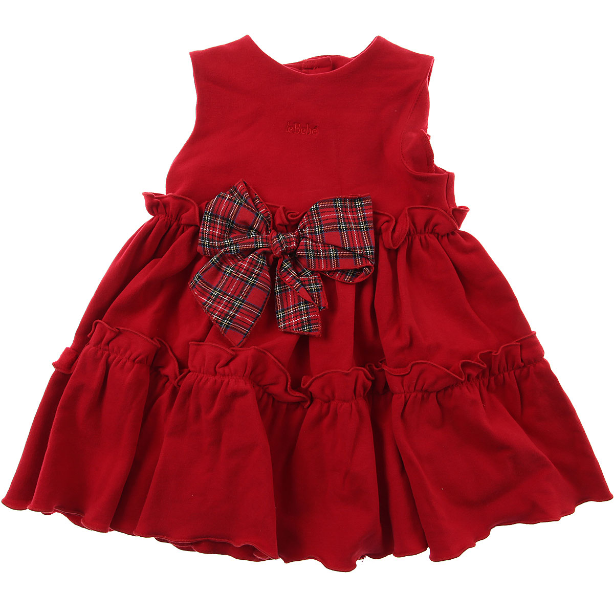 Image of Le Bebe Baby Dress for Girls, Red, Cotton, 2017, 6M 9M
