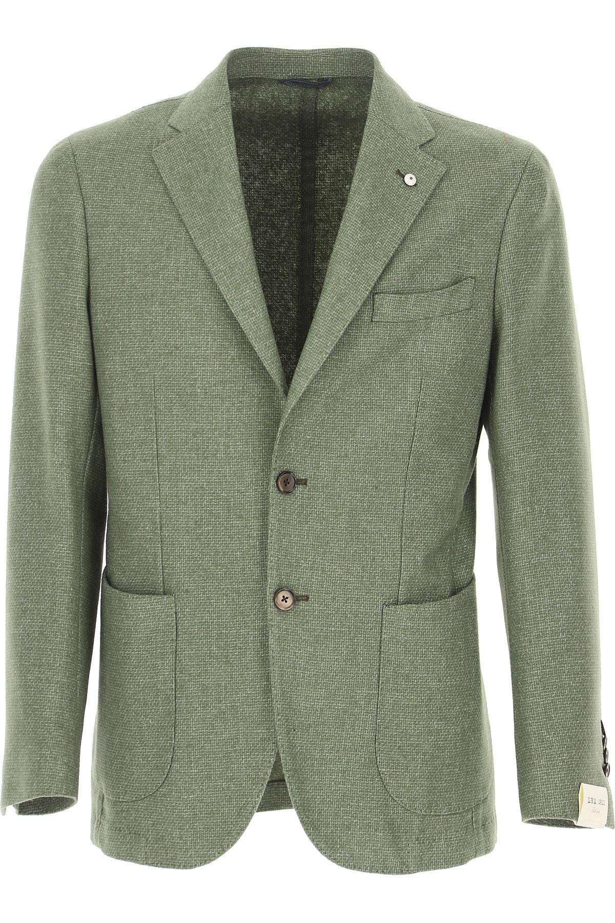 L.B.M. 1911 Blazer for Men, Sport Coat On Sale, Sage, Wool, 2019, M XL