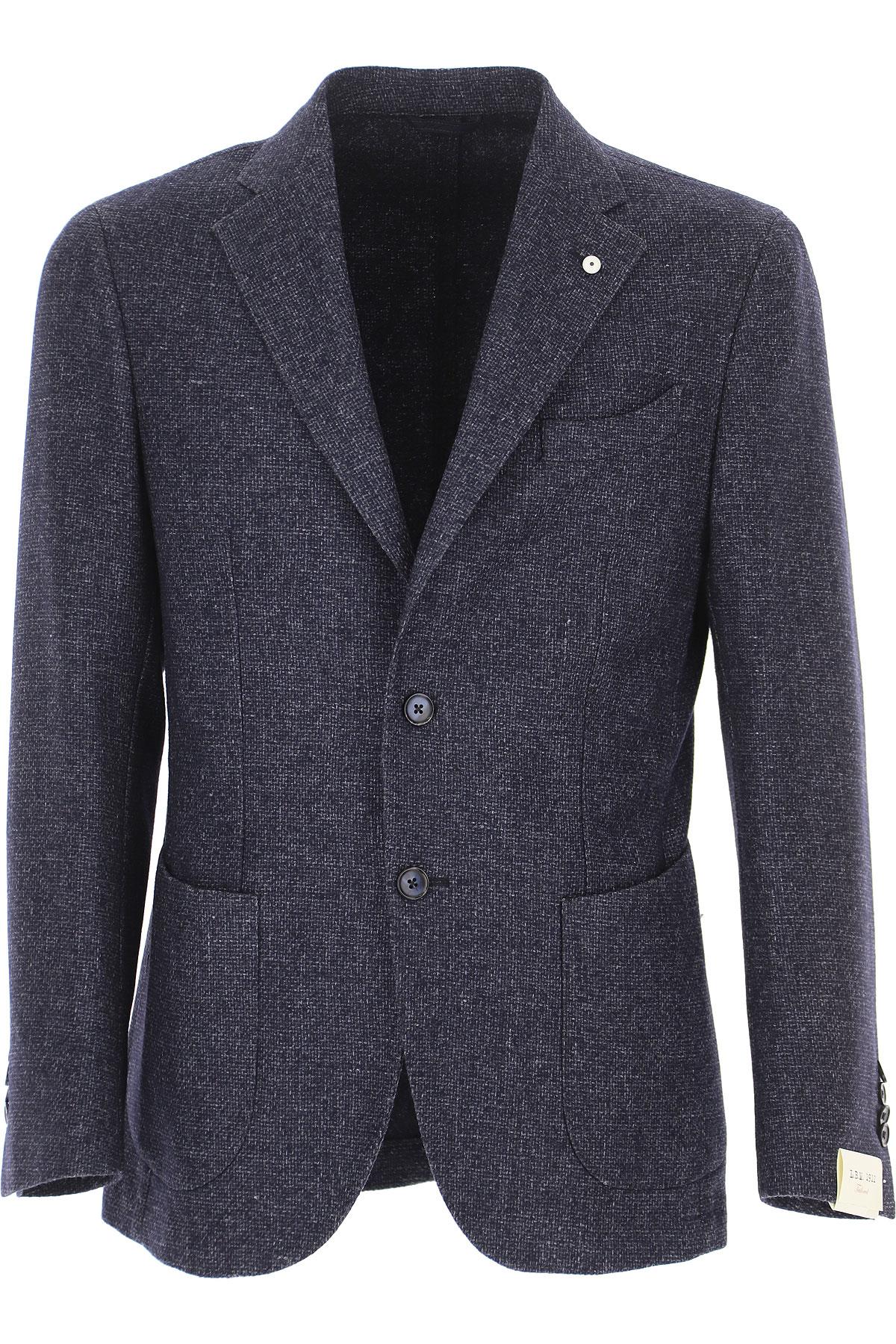 L.B.M. 1911 Blazer for Men, Sport Coat On Sale, Blue Melange, Wool, 2019, L M XXL