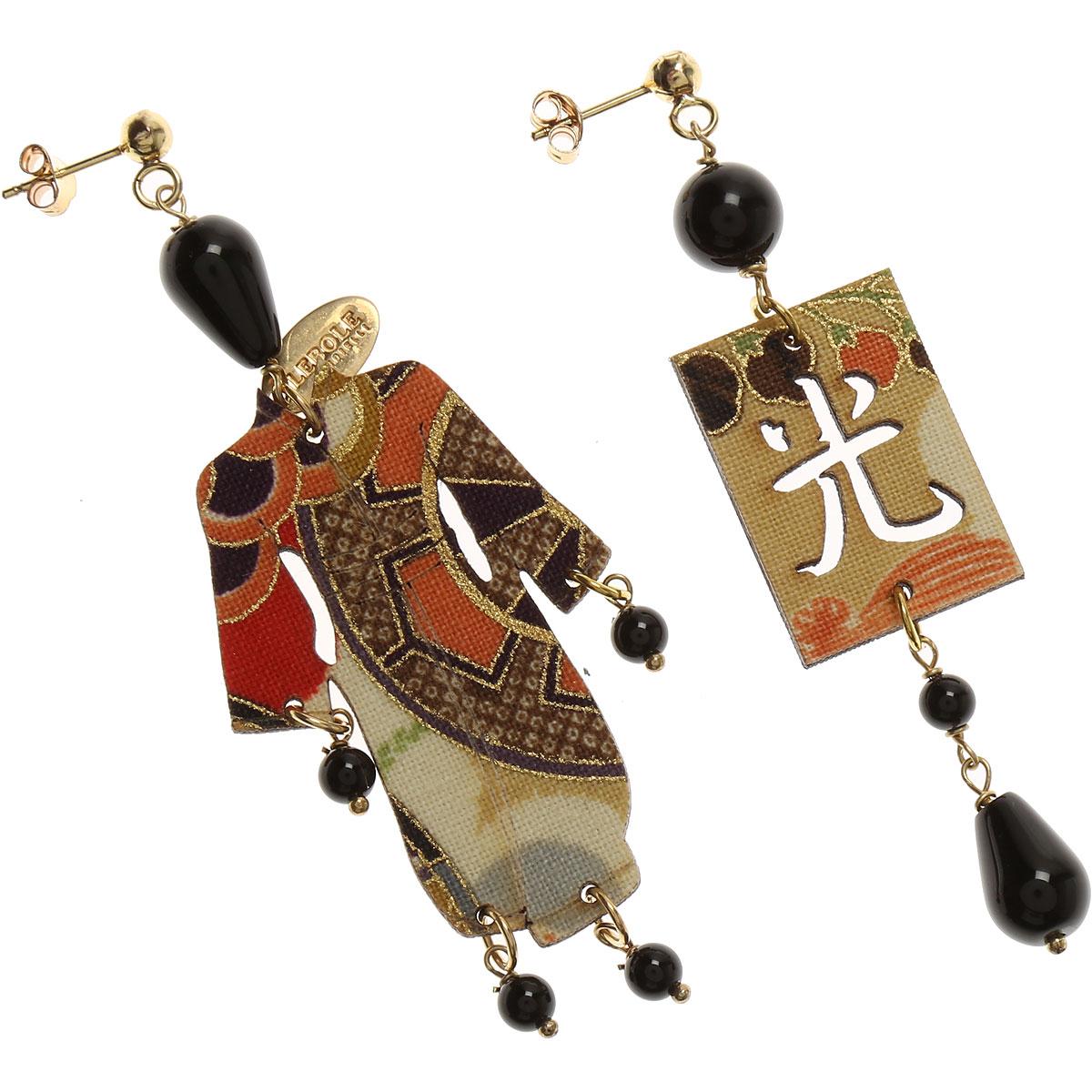 Image of Lebole Earrings for Women, Black, Silk, 2017