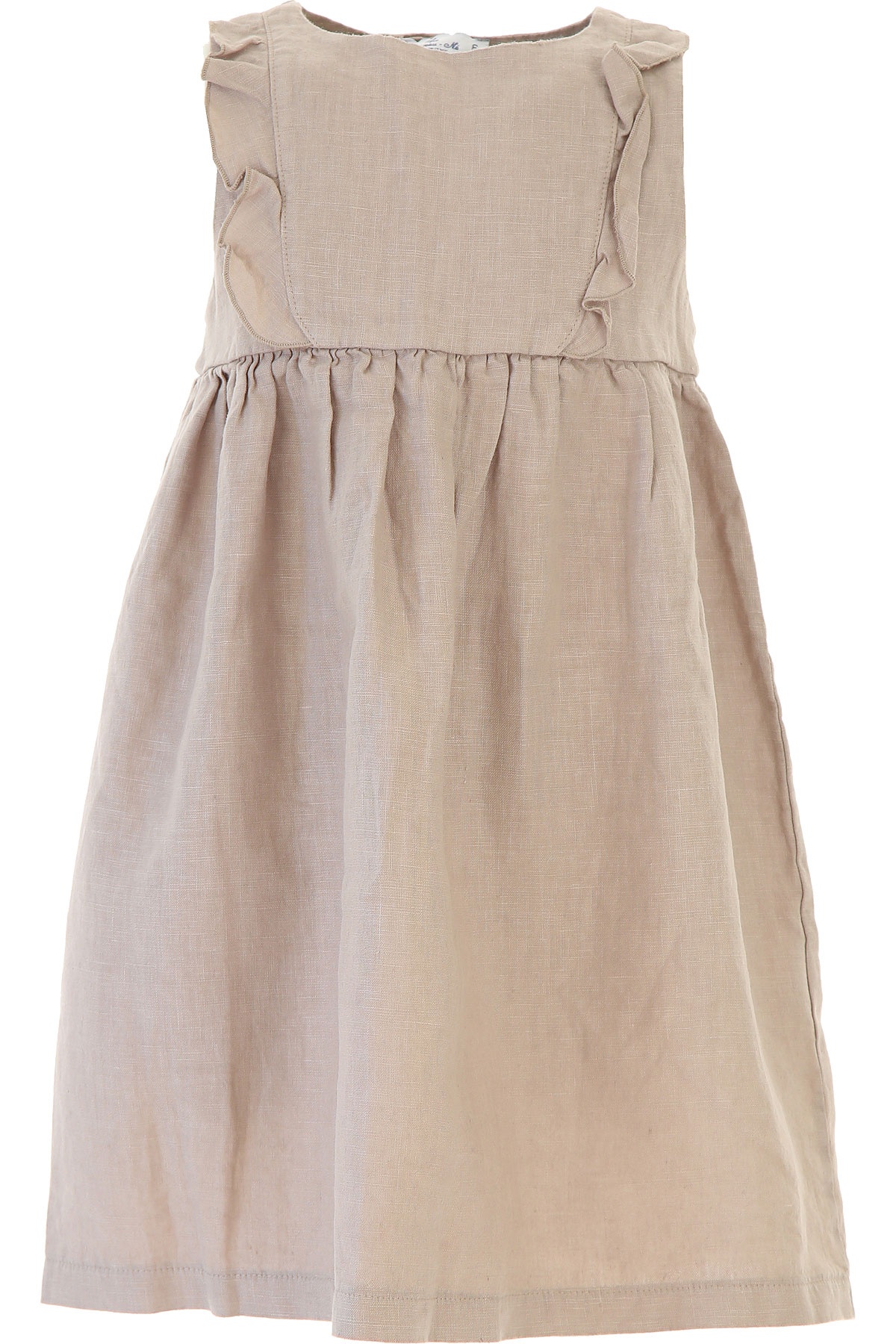 Image of Le Nouveau Ne Baby Dress for Girls On Sale in Outlet, Brown, linen, 2017, 3Y 6Y