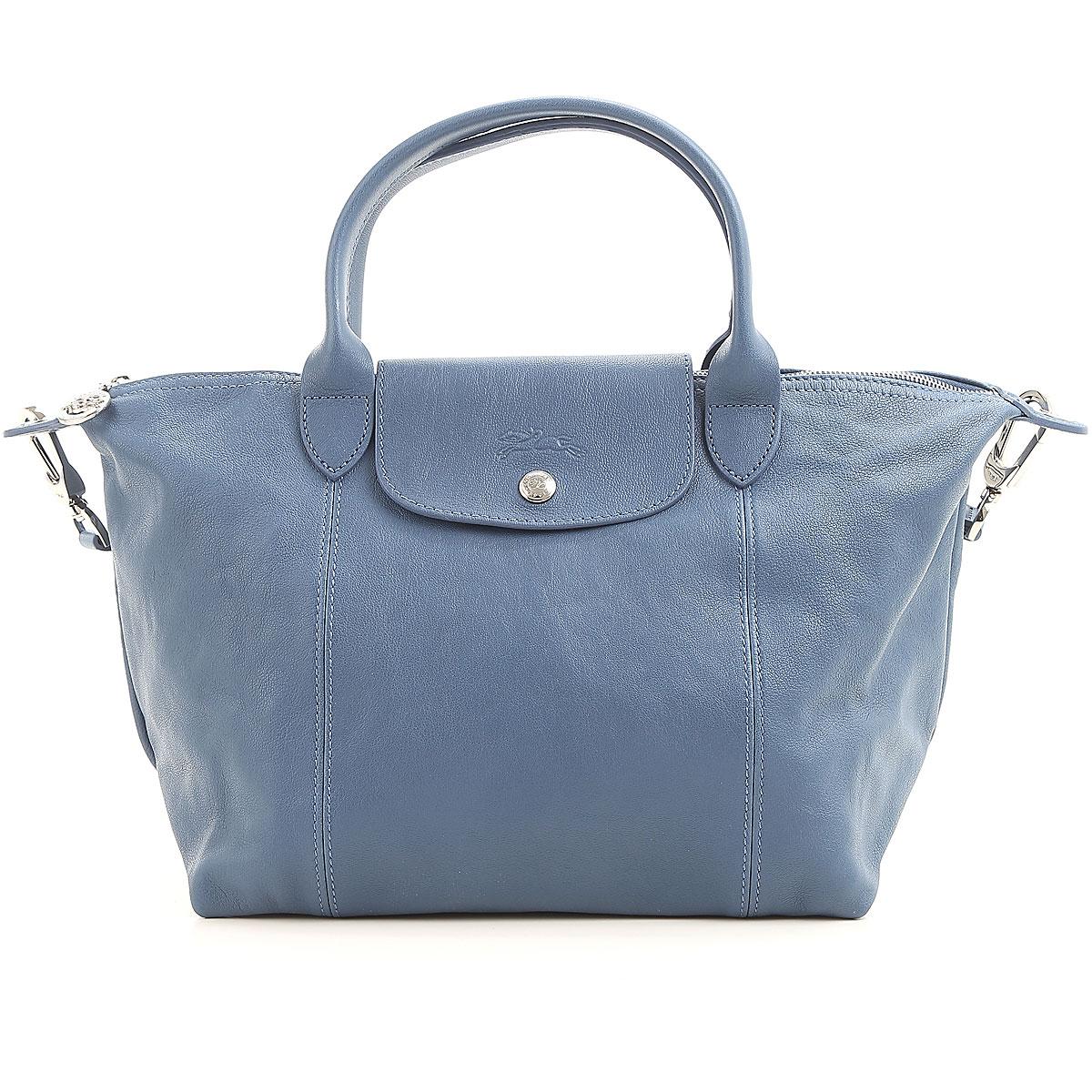 Image of Longchamp Top Handle Handbag On Sale, Denim Blu, Leather, 2017