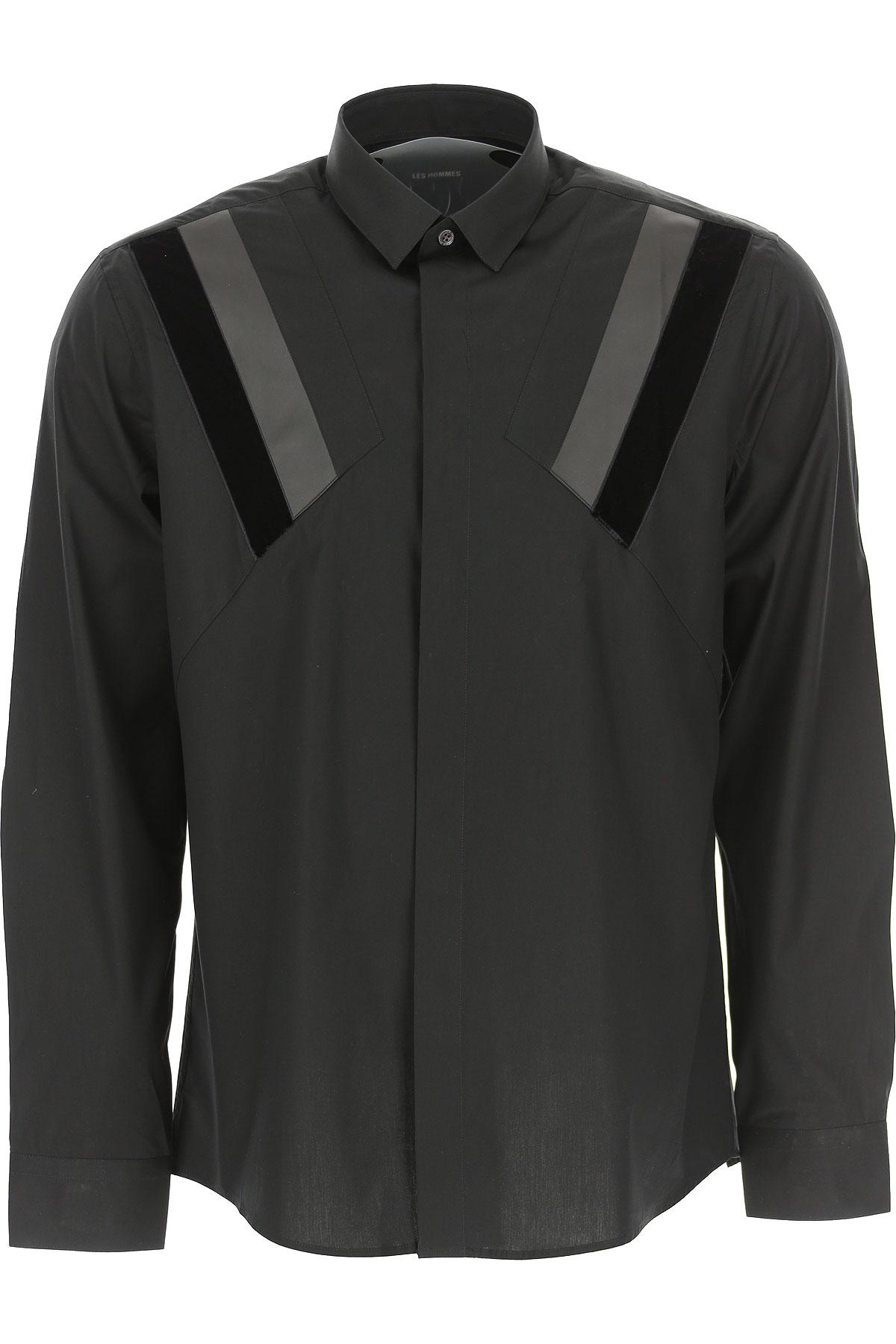 Les Hommes Shirt for Men On Sale, Black, Cotton, 2019, L M XL