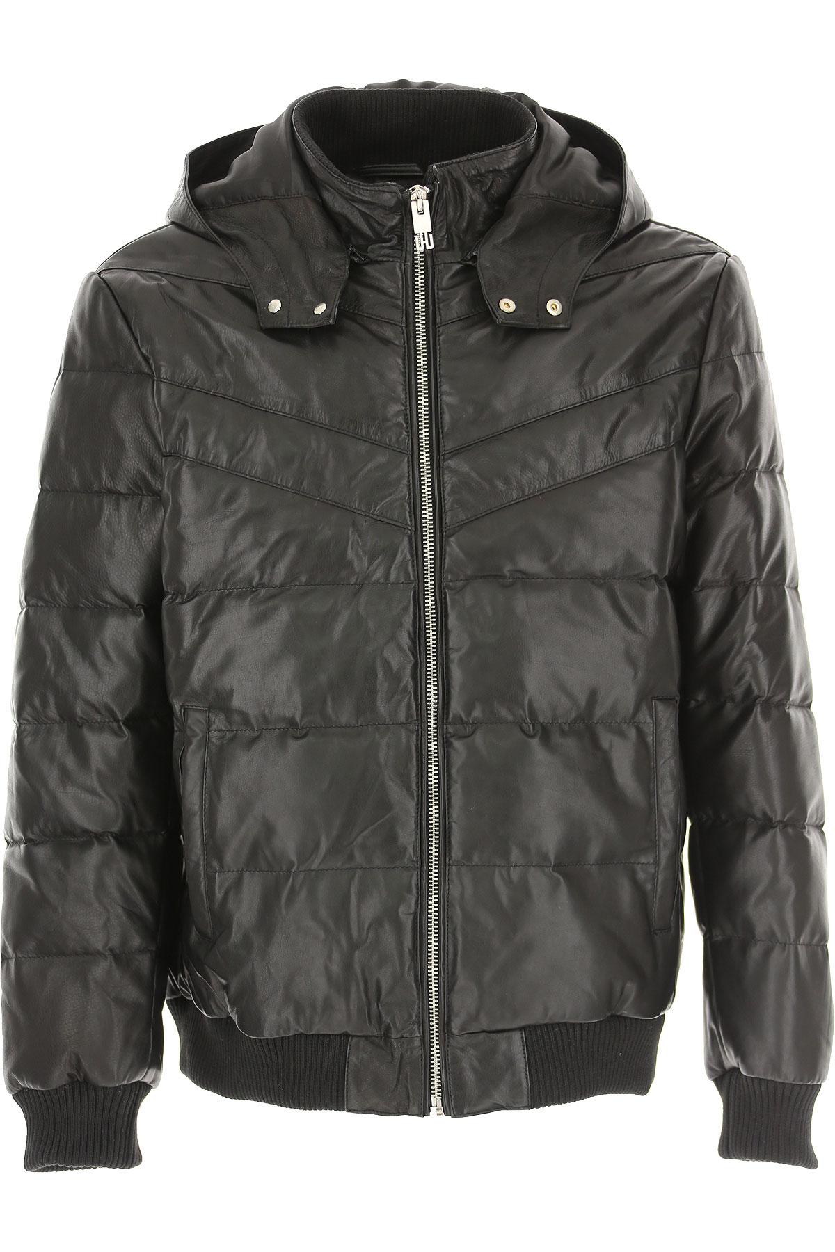 Les Hommes Down Jacket for Men, Puffer Ski Jacket On Sale, Black, Leather, 2019, L M XL