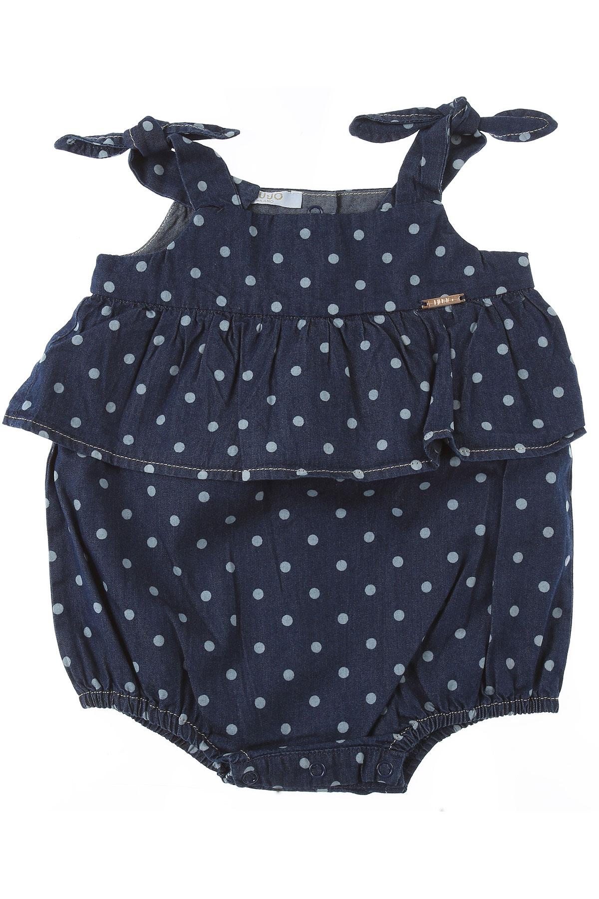 Liu Jo Baby Bodysuits & Onesies for Girls On Sale, Blue Denim, Cotton, 2019, 12M 18M 3M 6M