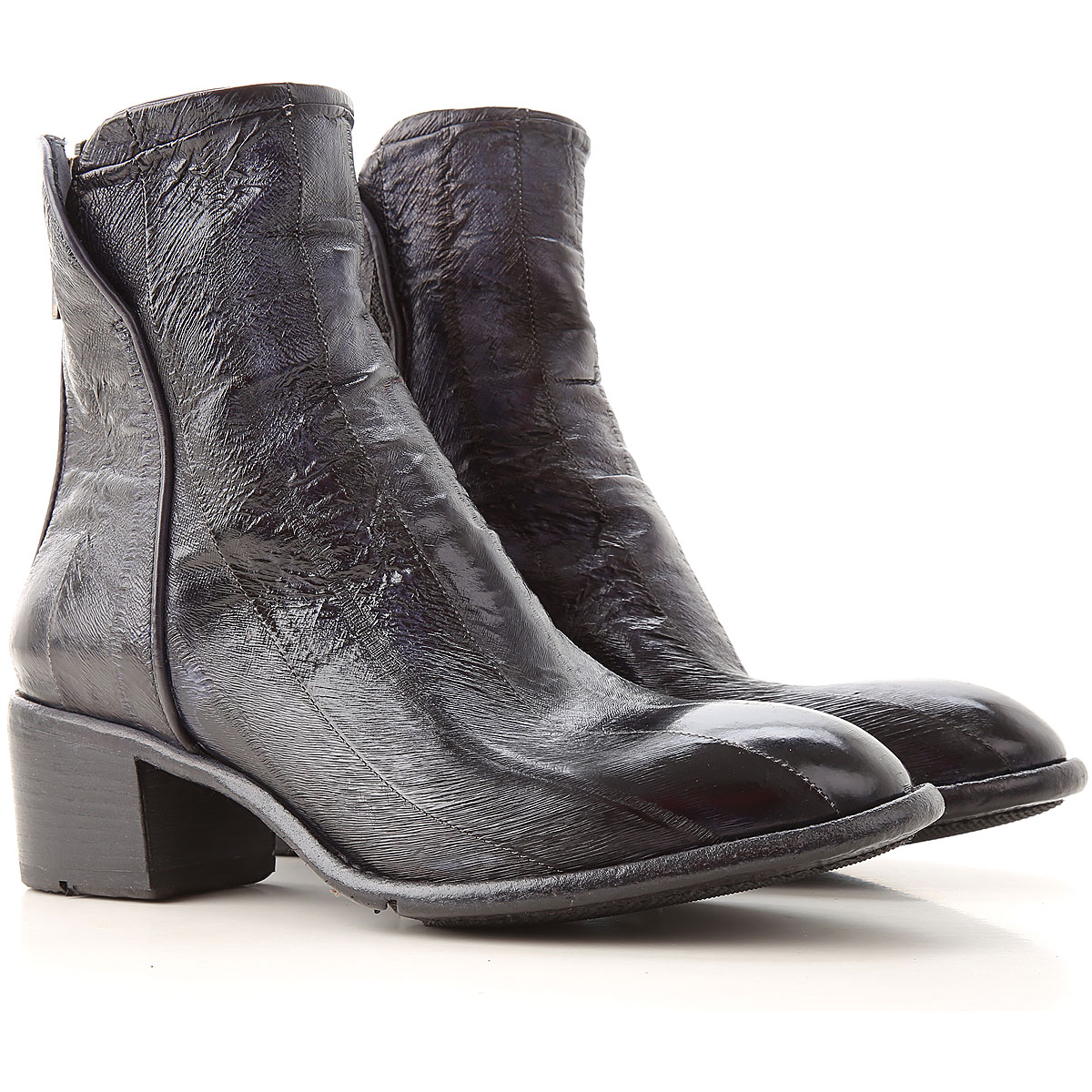 Lemargo Boots for Women, Booties On Sale, Blue Black, Leather, 2019, 6 8.5