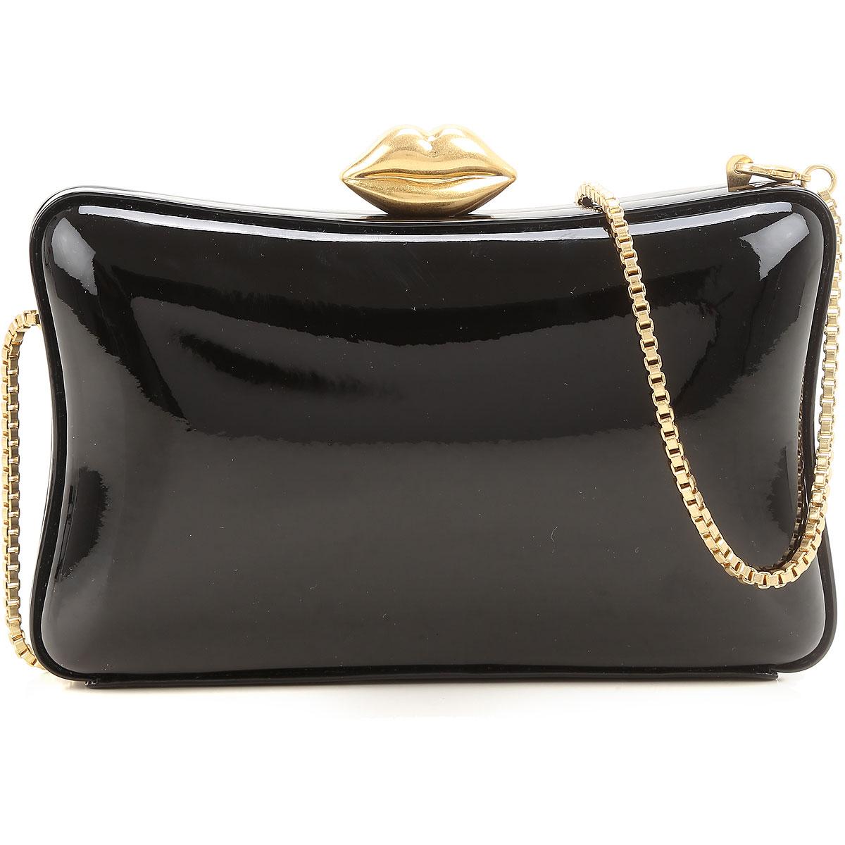 Image of Lulu Guinness Clutch Bag, Black, Patent, 2017