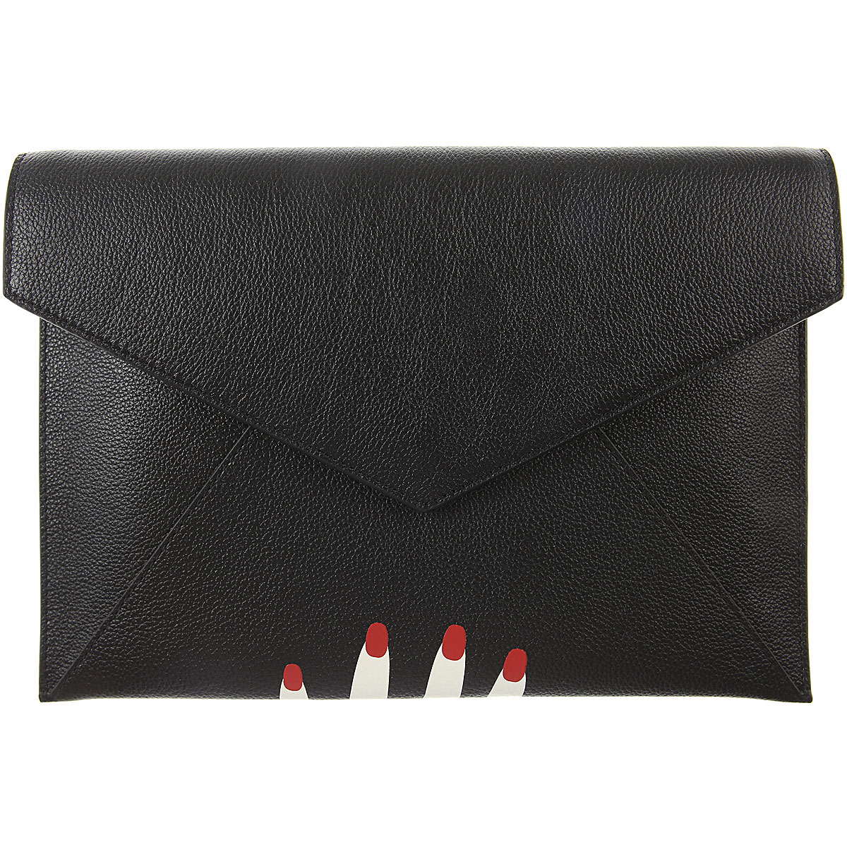 Image of Lulu Guinness Clutch Bag, Black, Leather, 2017