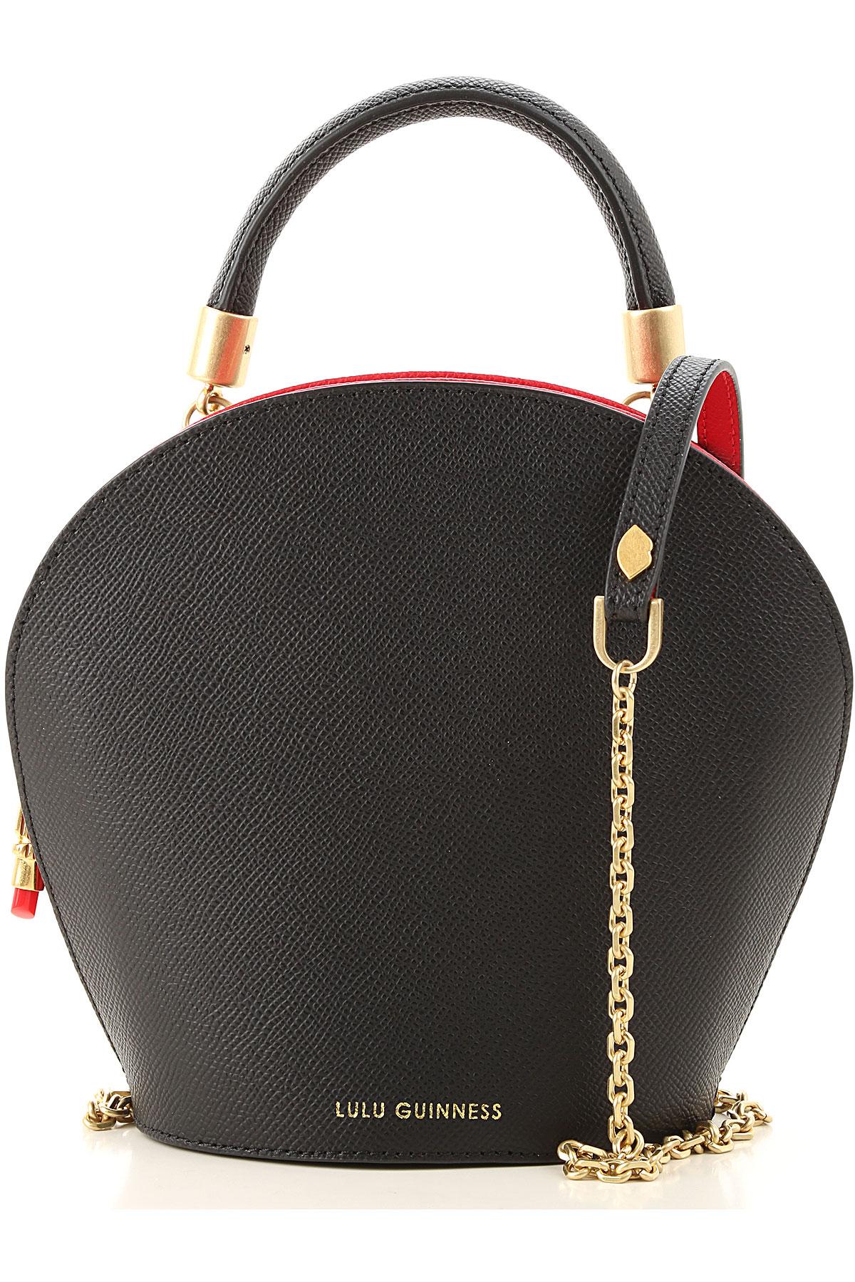Lulu Guinness Top Handle Handbag On Sale, Black, Grain, 2019