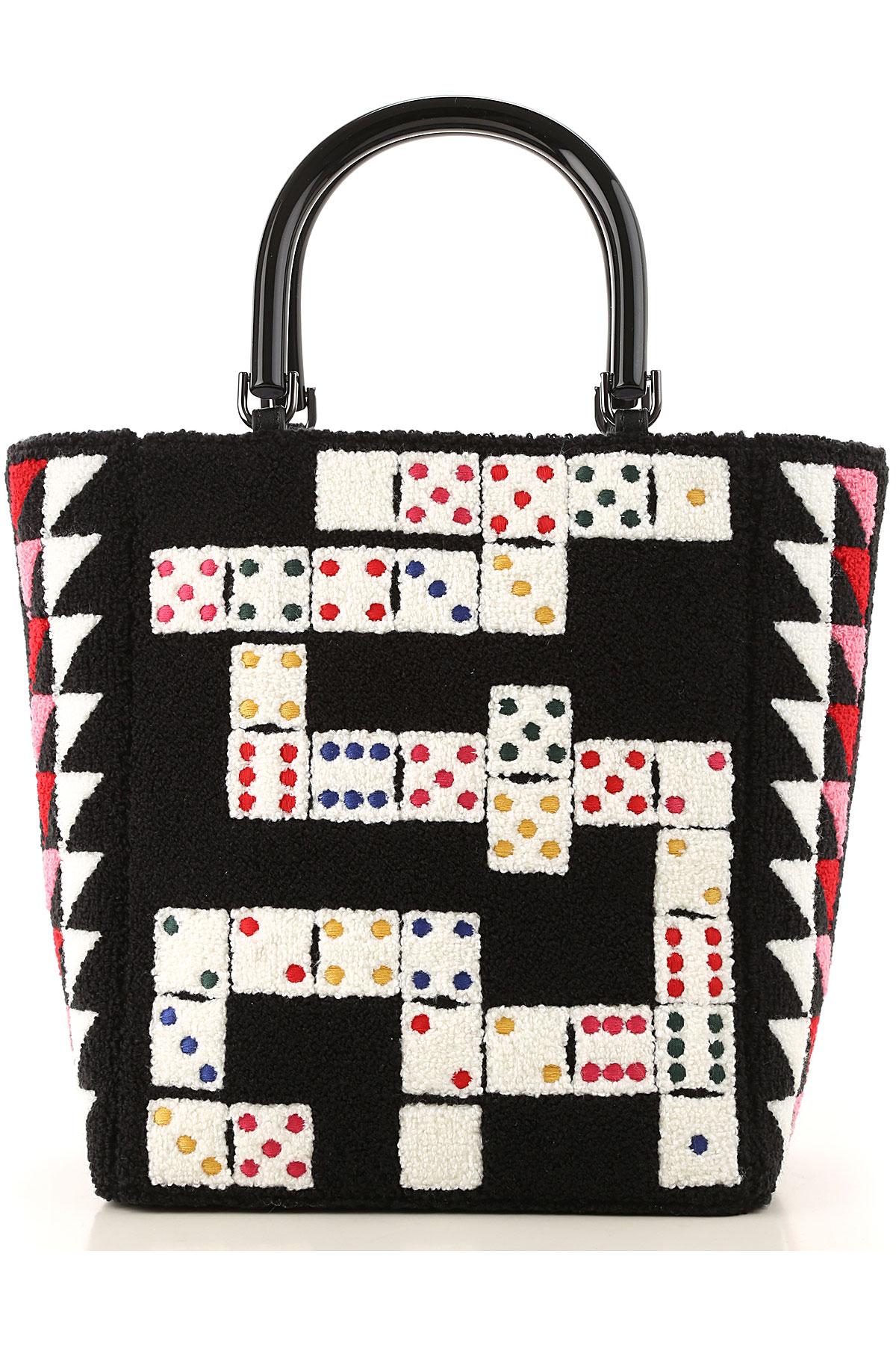 Lulu Guinness Top Handle Handbag On Sale, Black, Boucle, 2019