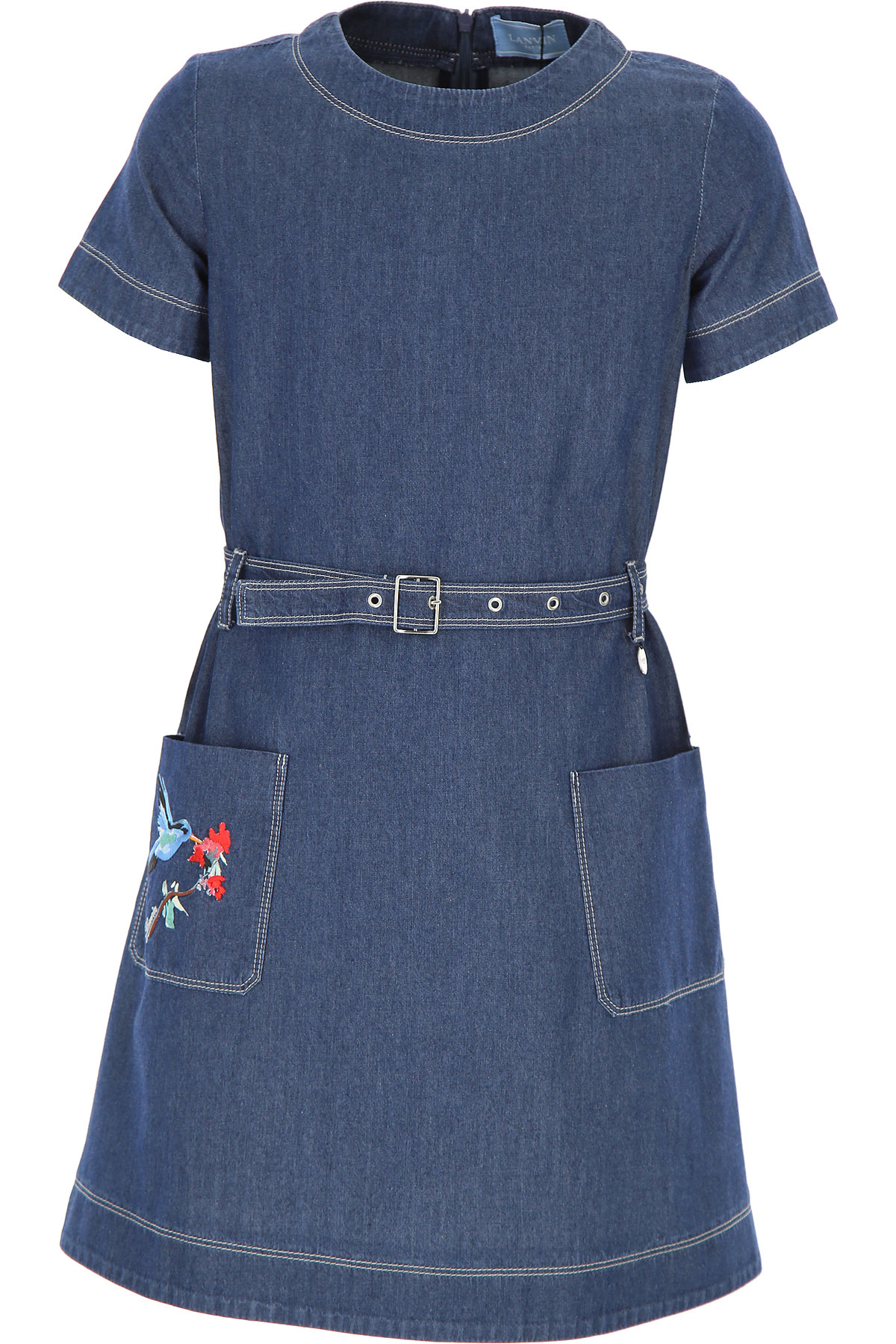 Lanvin Girls Dress On Sale in Outlet, Denim Blue, Cotton, 2019, 12Y 8Y