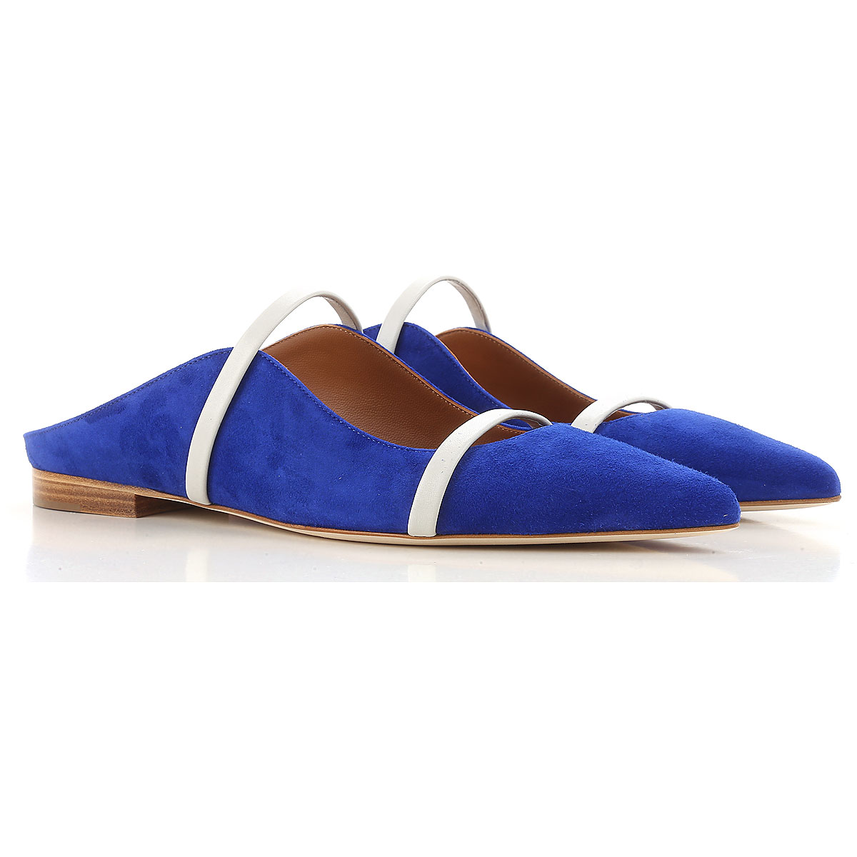Image of Malone Souliers Ballet Flats Ballerina Shoes for Women On Sale, Electric Blue, Suede leather, 2017, 10 6 6.5