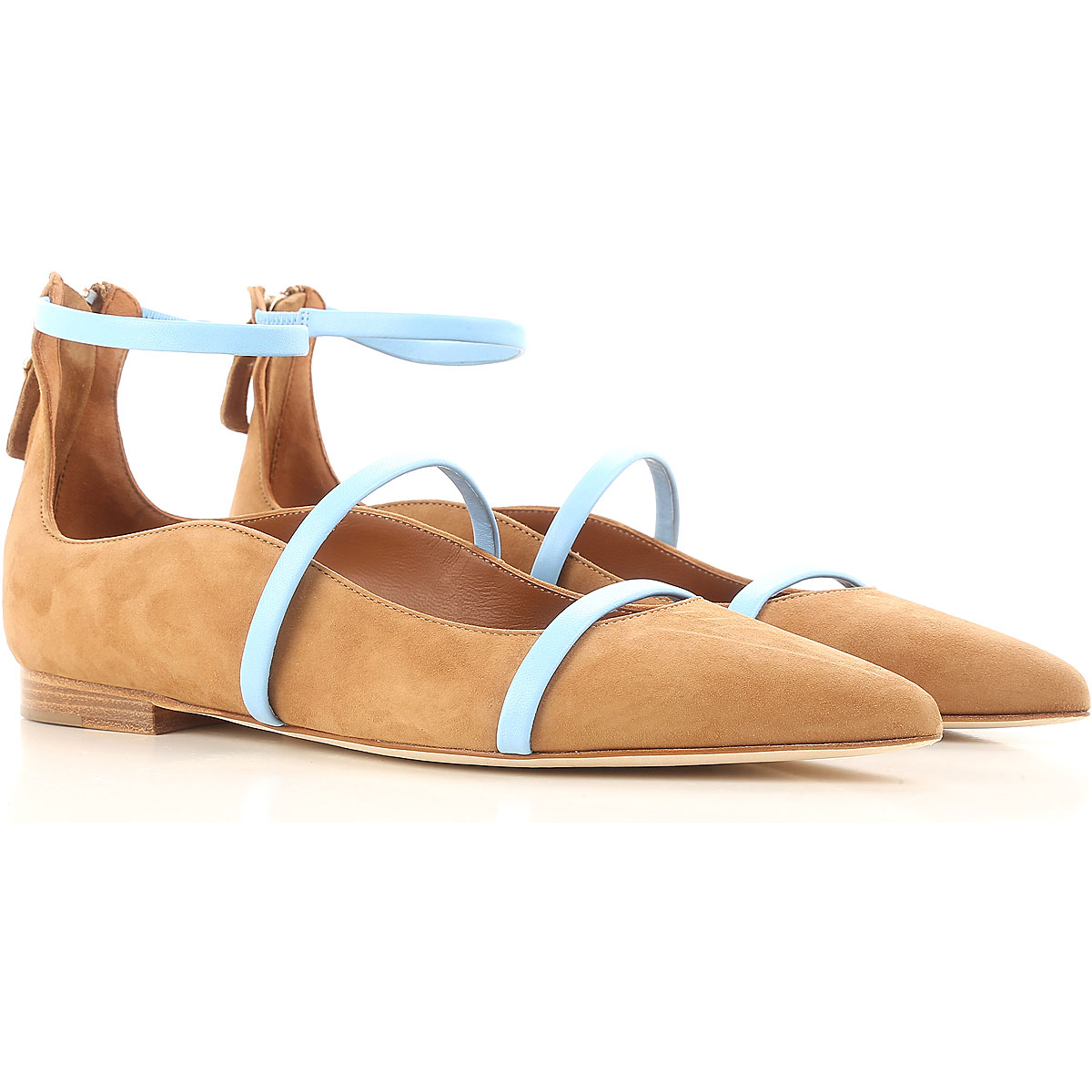 Image of Malone Souliers Ballet Flats Ballerina Shoes for Women On Sale, Tan, Suede leather, 2017, 5 6 6.5