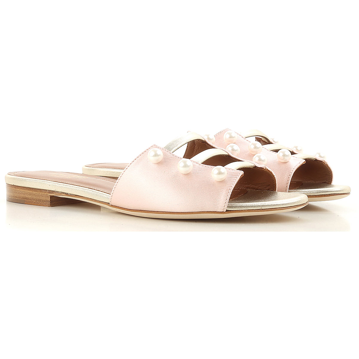Image of Malone Souliers Sandals for Women On Sale, Pink, satin, 2017, 6.5 7 8.5 9