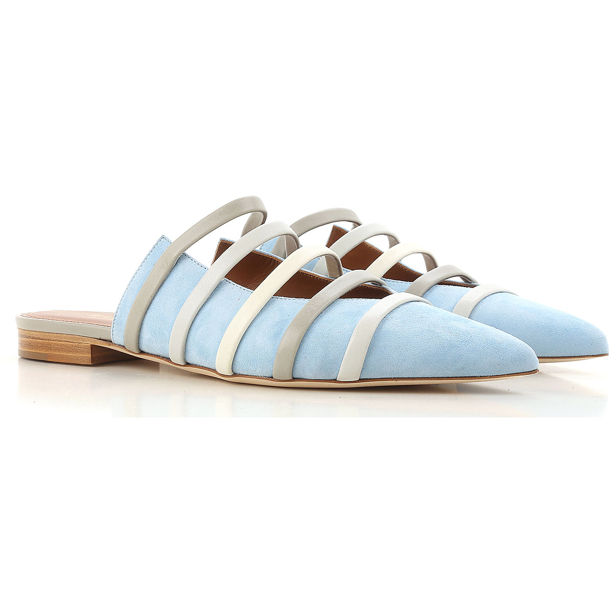 Malone Souliers Ballet Flats Ballerina Shoes for Women On Sale in Outlet, Powder Blue, Suede leather, 2019, 6 6.5 8.5