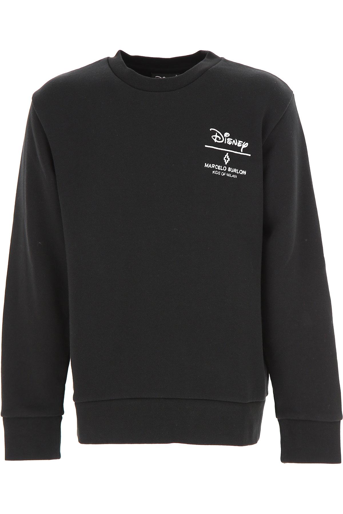 Marcelo Burlon Kids Sweatshirts & Hoodies for Boys On Sale in Outlet, Black, Cotton, 2019, 10Y 6Y