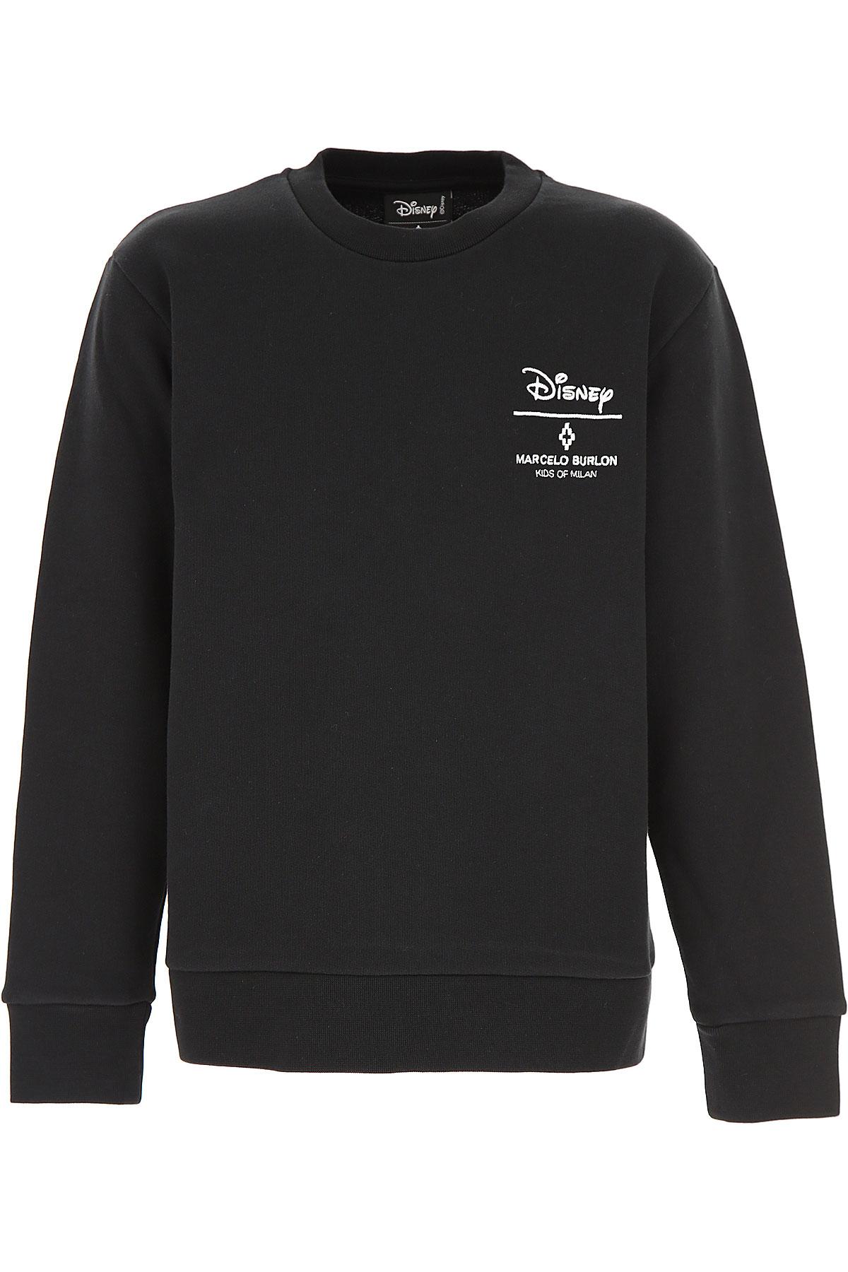 Marcelo Burlon Kids Sweatshirts & Hoodies for Boys On Sale in Outlet, Black, Cotton, 2019, 6Y 8Y