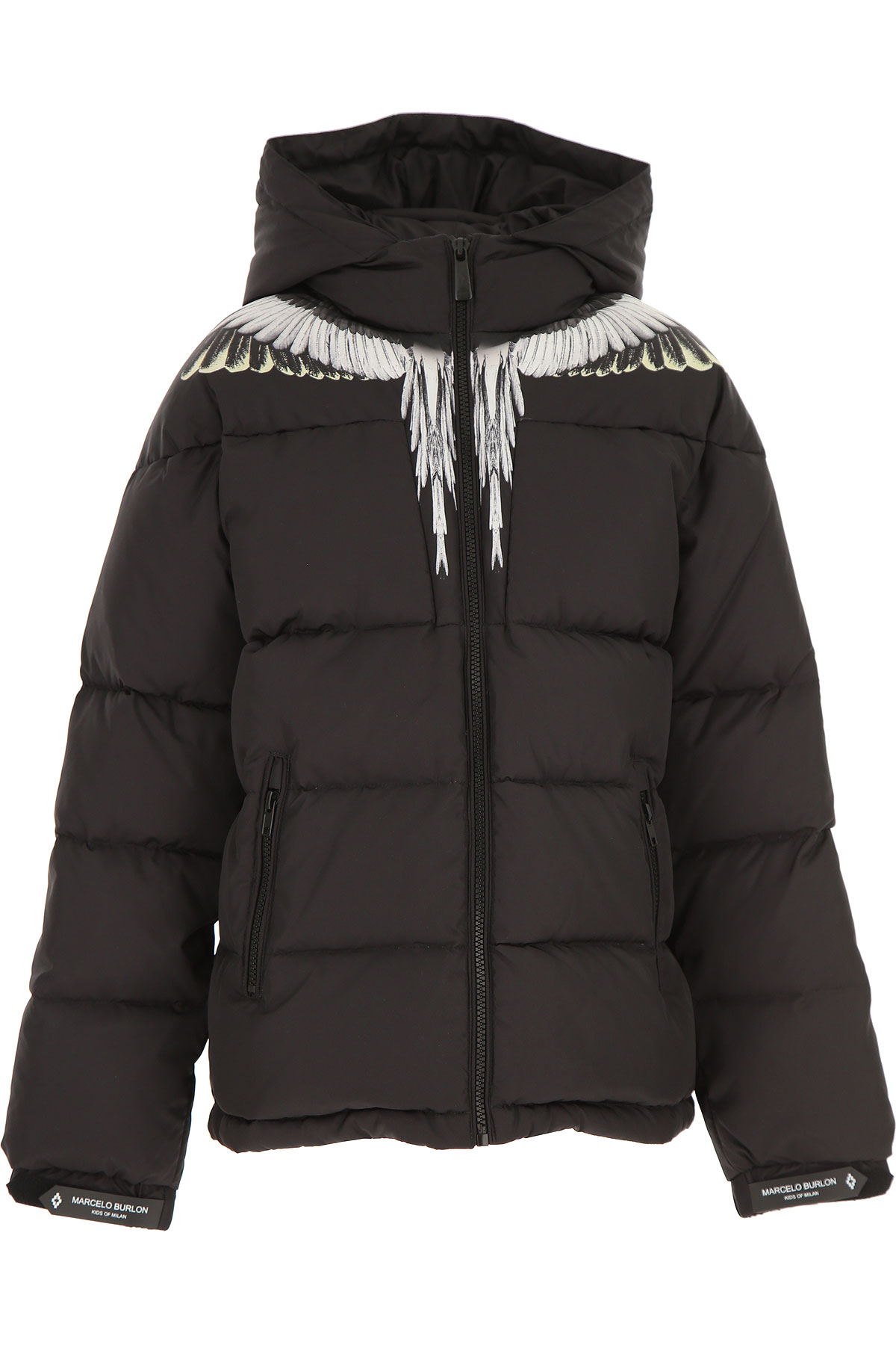 Marcelo Burlon Boys Down Jacket for Kids, Puffer Ski Jacket On Sale, Black, polyester, 2019, 12Y 14Y
