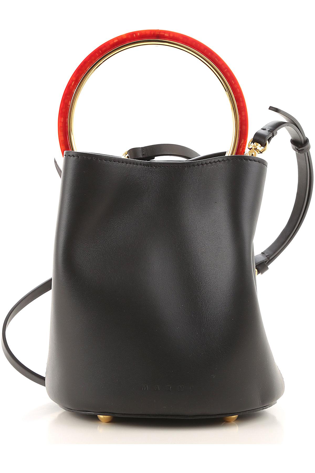 Marni Shoulder Bag for Women On Sale, Black, Leather, 2019