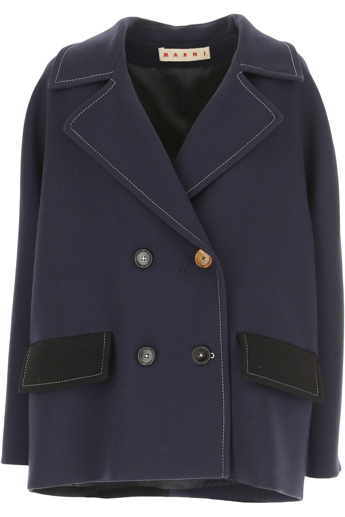 Image of Marni Women\'s Coat, Navy Blue, Virgin wool, 2017, 4 6 8