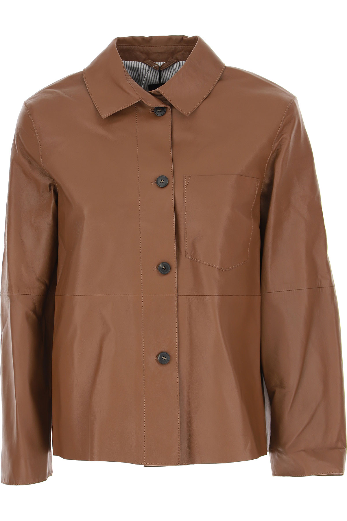 Max Mara Leather Jacket for Women On Sale, Brown, Leather, 2019, 2