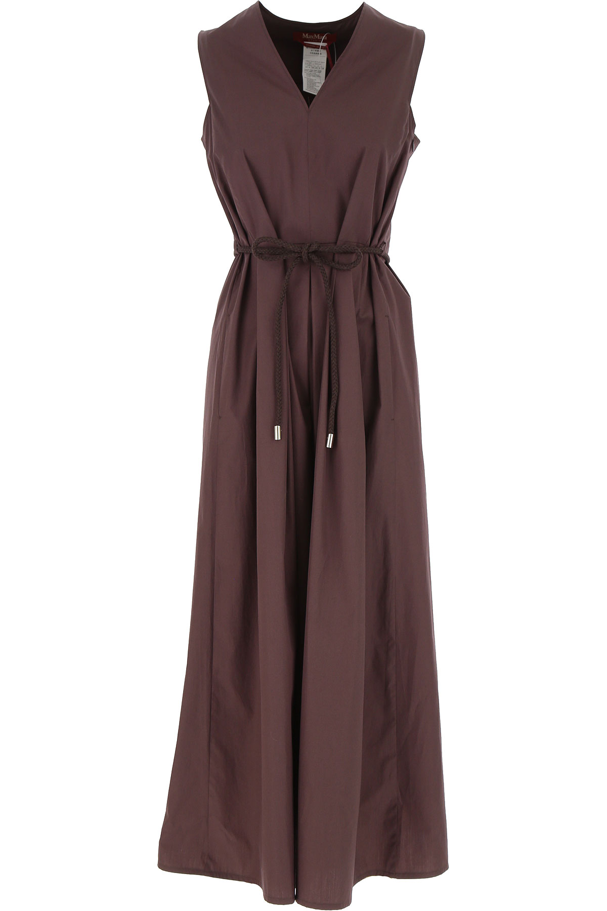 Max Mara Dress for Women, Evening Cocktail Party On Sale, Brown, Cotton, 2019, 2 4