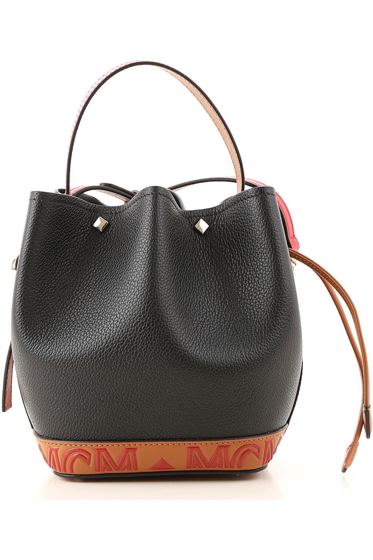 MCM Top Handle Handbag On Sale, Black, Leather, 2019