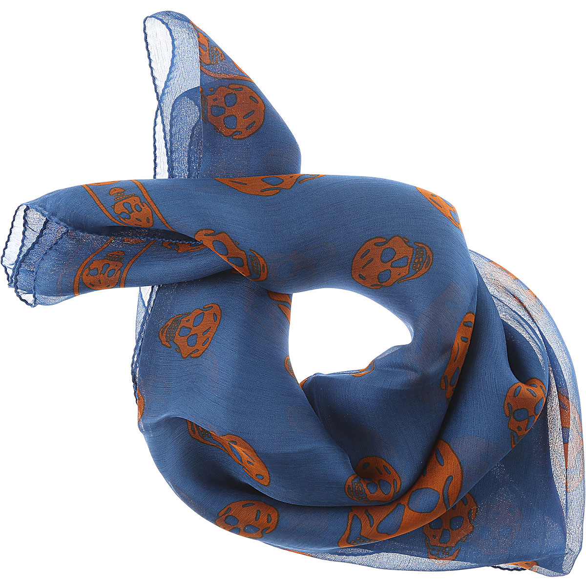 Image of Alexander McQueen Scarf for Men On Sale in Outlet, Bluette, Silk, 2017