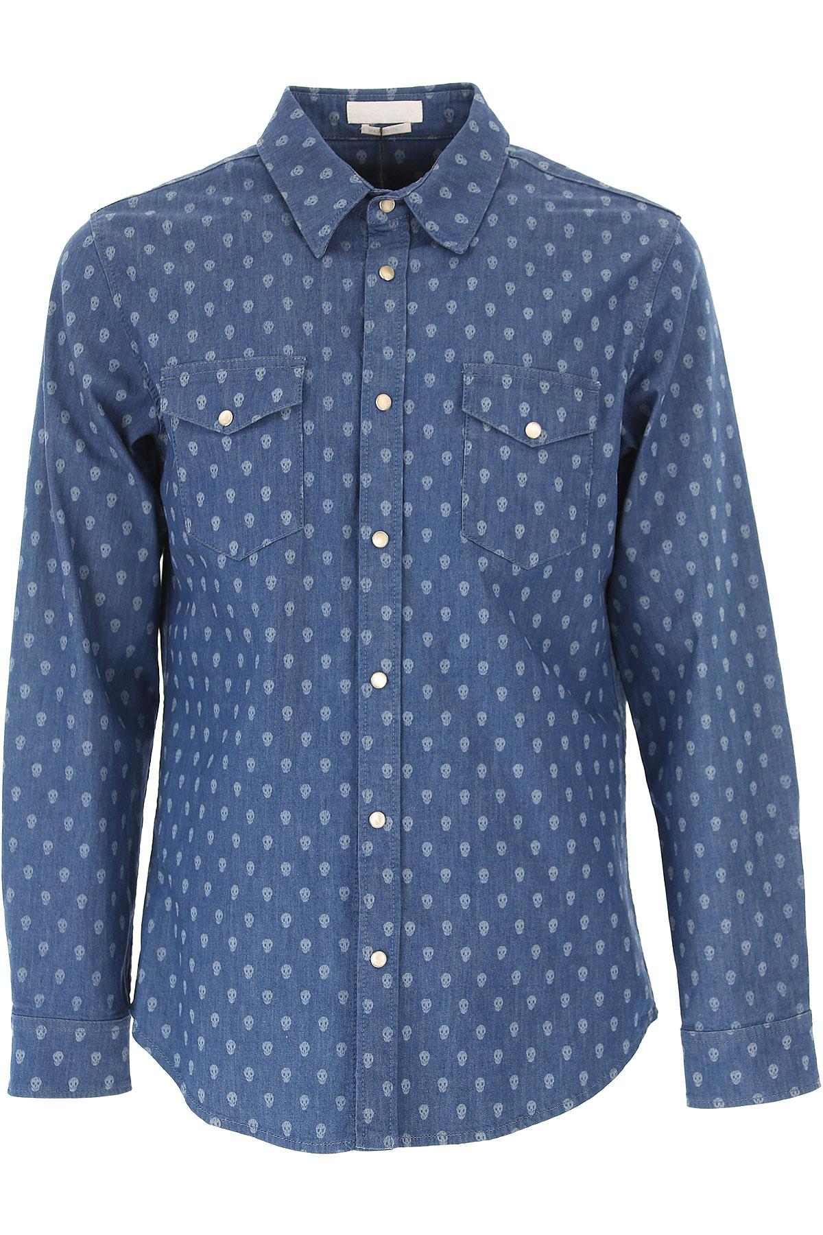 Image of Alexander McQueen Shirt for Men On Sale in Outlet, Blue Denim, Cotton, 2017, M S