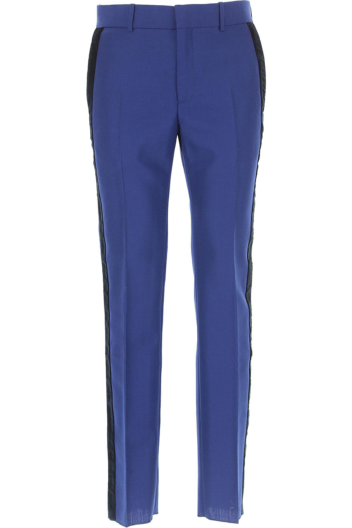 Alexander McQueen Pantalones De Hombre, Pantalón Baratos En Rebajas Outlet, Azul, Lana, 2019, 32 34