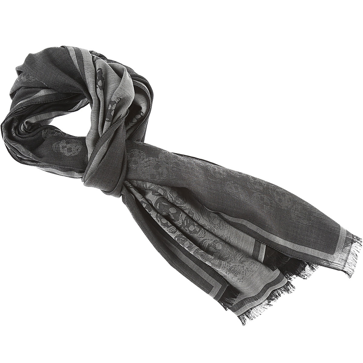 Image of Alexander McQueen Scarf for Men, Anthracite, Wool, 2017
