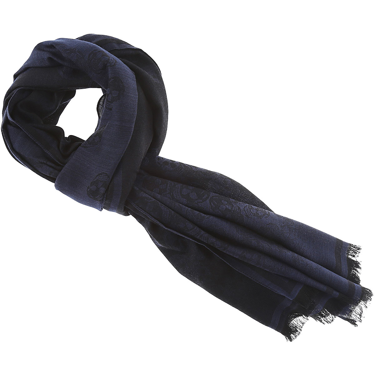 Image of Alexander McQueen Scarf for Men, Blue Ink, Wool, 2017