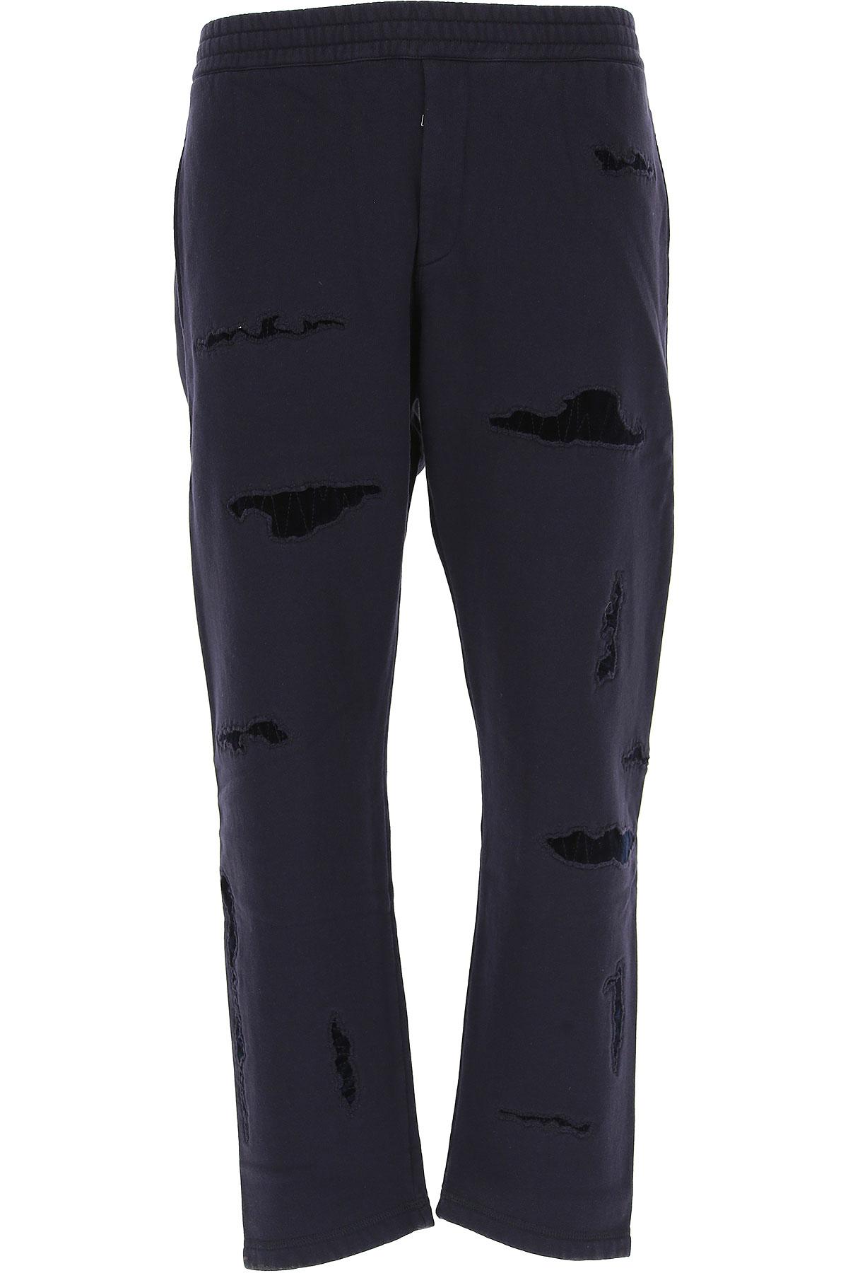 Image of Alexander McQueen Pants for Men, Navy Blue, Cotton, 2017, S