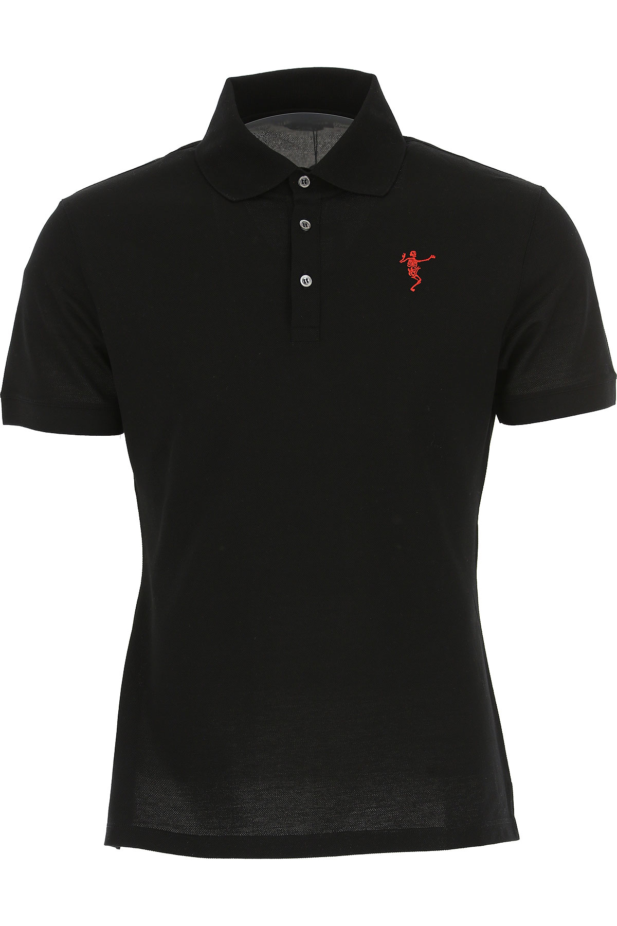 Image of Alexander McQueen Polo Shirt for Men, Black, Cotton, 2017, M S XS