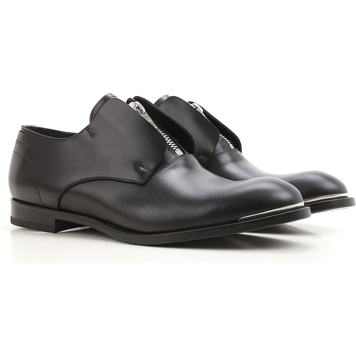 Image of Alexander McQueen Loafers for Men On Sale, Black, Leather, 2017, EUR 40.5 - US 7.5 - UK 6.5 EUR 41.5 - US 8.5 - UK 7.5