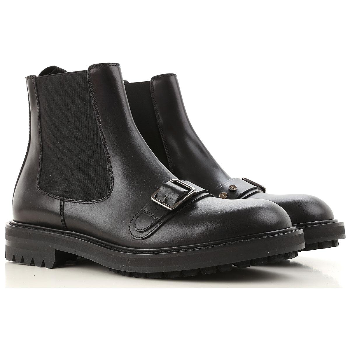 Image of Alexander McQueen Boots for Men, Booties On Sale, Black, Calfskin Leather, 2017, EUR 42.5 - US 9.5 - UK 8.5 EUR 42 - US 9 - UK 8 EUR 43 - US 10 - UK 9