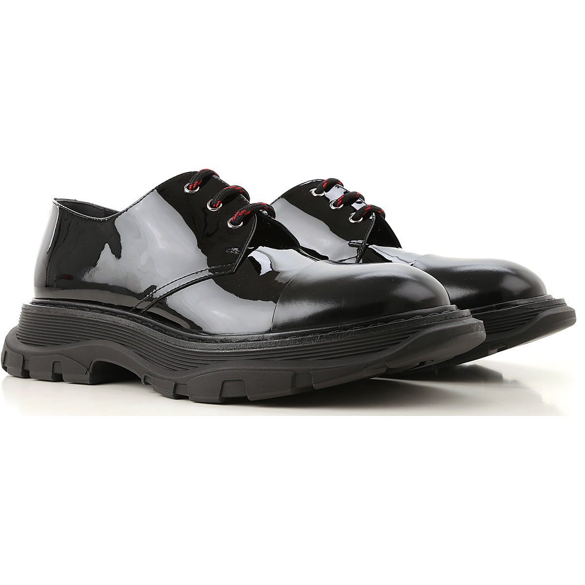 Image of Alexander McQueen Lace Up Shoes for Men Oxfords, Derbies and Brogues, Black, Patent, 2017, EUR 40 - US 7 - UK 6 EUR 41 - US 8 - UK 7 EUR 42 - US 9 - UK 8 EUR 45 - US 12 - UK 11