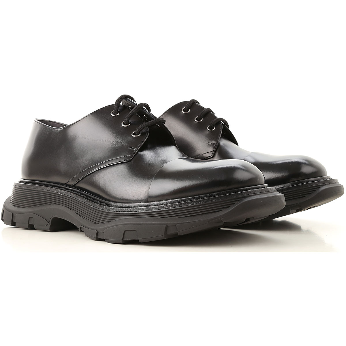 Image of Alexander McQueen Lace Up Shoes for Men Oxfords, Derbies and Brogues, Black, Leather, 2017, EUR 39 - US 6 - UK 5 EUR 40.5 - US 7.5 - UK 6.5 EUR 40 - US 7 - UK 6 EUR 41 - US 8 - UK 7 EUR 42 - US 9 - UK 8 EUR 44 - US 11 - UK 10
