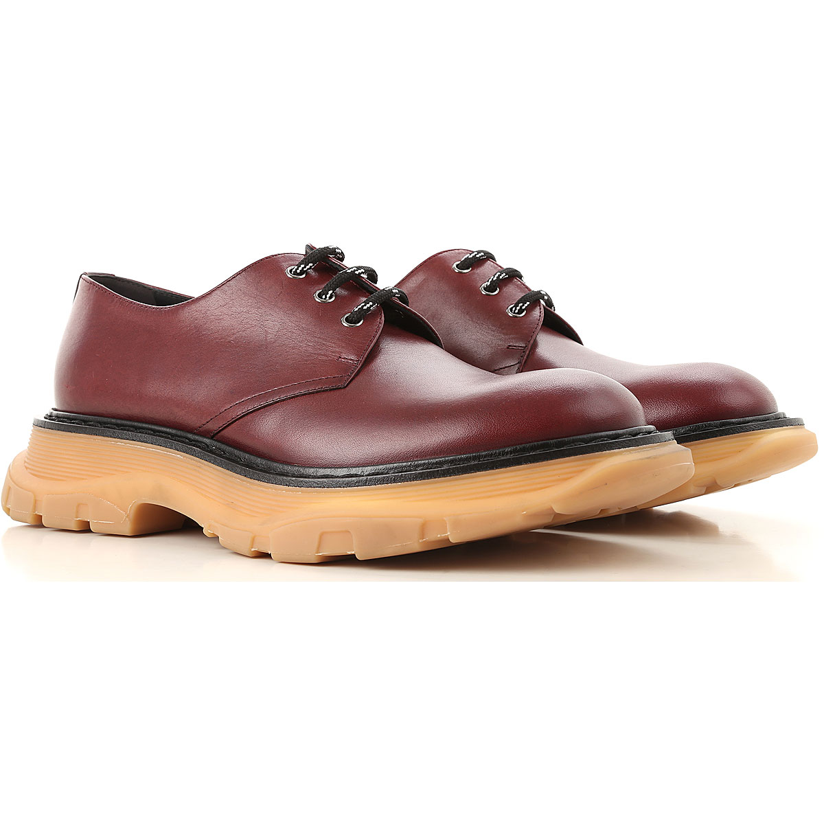 Image of Alexander McQueen Lace Up Shoes for Men Oxfords, Derbies and Brogues, Aubergine, Leather, 2017, EUR 40 - US 7 - UK 6 EUR 41 - US 8 - UK 7 EUR 42 - US 9 - UK 8 EUR 44 - US 11 - UK 10 EUR 45 - US 12 - UK 11