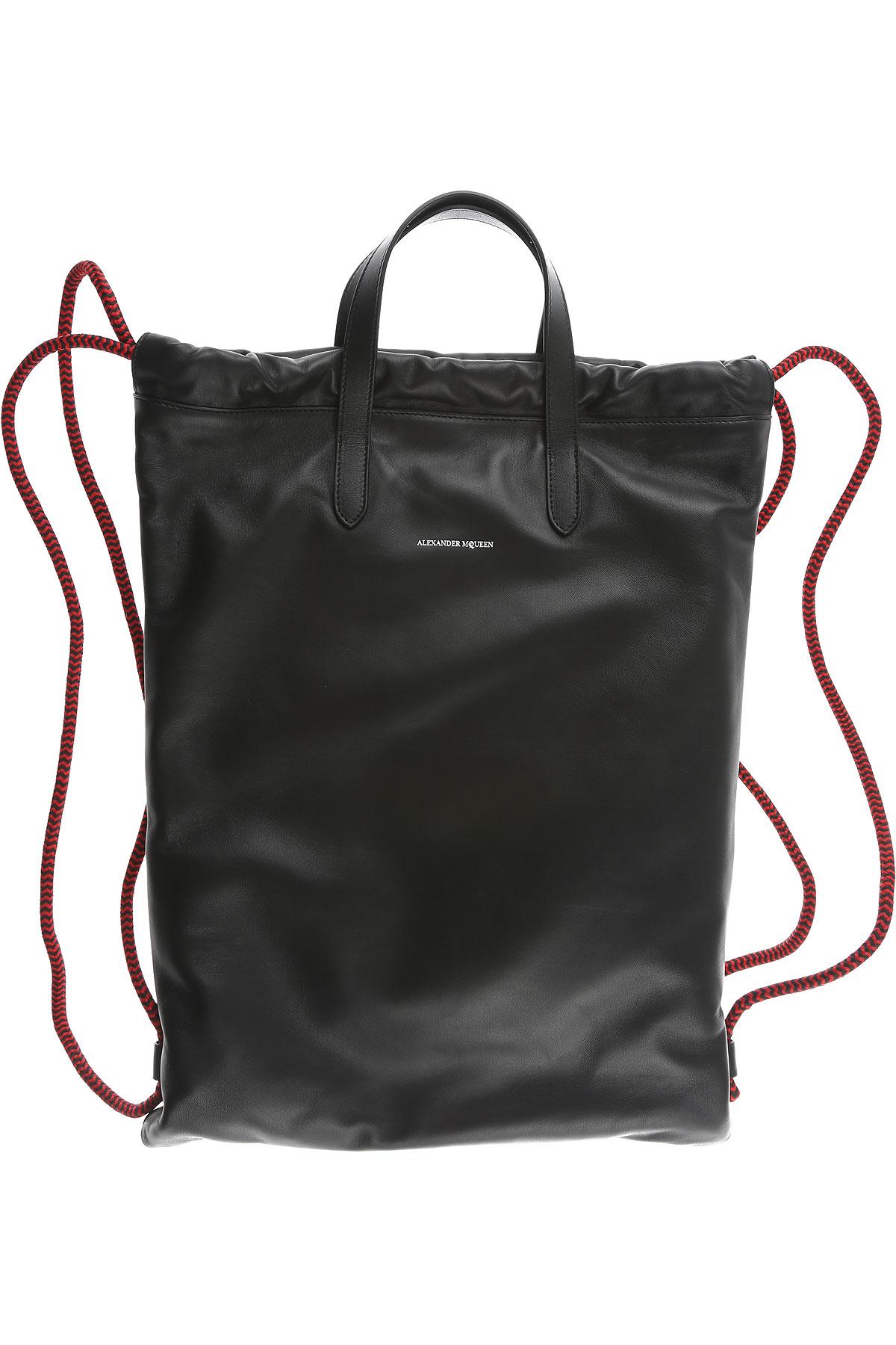 Image of Alexander McQueen Backpack for Men, Black, Leather, 2017